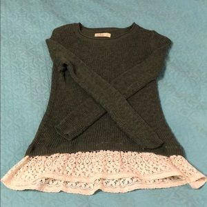 Hollister Green Sweater with Lace